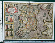 "Old Antique Tudor map of Ireland: John Speed 1600s Reprint 15"" x 11"" Historical"