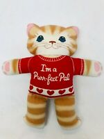 "Plush Kitty Cat Handmade 1980s Toy ""I'm a Purr-Fect Pal"" Cute Vintage Toy 11"""