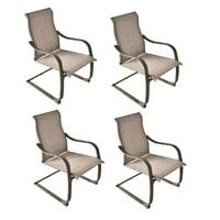 "Set of 4 Steel Gray 24"" Dining Patio Chair Outdoor Low Maintenance Sling Fabric"