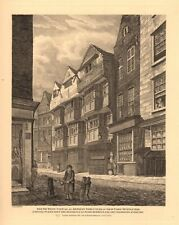 SHIP YARD, TEMPLE BAR. Elias Ashmole's house. Fleet Street, London 1834 print