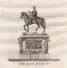 PARIS. Statue équestre de Louis XV. Aquatint 1808 old antique print picture