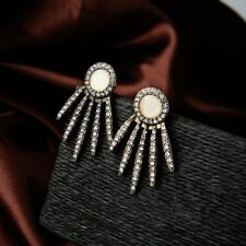 Bold Crystal Studded Spike Ear Jacket Cuff Antique Gold Earrings Pave Cream Stud