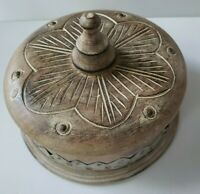 "Carved Wood Lidded Round Trinket Box Metal Band ~8.5"" x 3"""