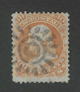 USA Scott # 71 Vertical Pressed Out Crease San Francisco  Cogwheel Cancel Stamp