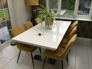 DFS Monochrome White High Gloss Extending Dining Table 6 to 8 Seater