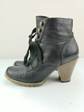DOROTHY PERKINS Black Leather Ladies Ankle High Heel Shoe Boot Size 5 38