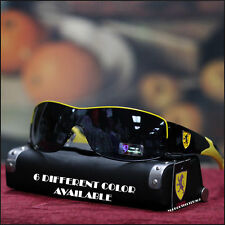 New Men Khan Shield Sunglasses Sports Biker Trendy Eyewear Stylish Black/Yellow