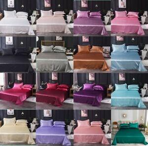 Cozy Satin Silk 3Pcs Bedding Set Flat Bed Sheet Pillowcase Queen/King H-194