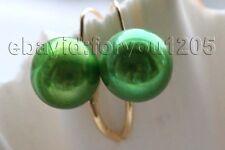 Pearl earrings 14k #f1811! Genuine Natural 11mm green