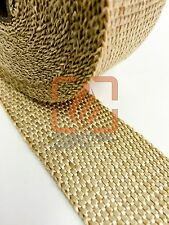 TAN EXHAUST WRAP HEADER PIPE INSULATION TAPE 1 INCH X 50 FEET W/ STAINLESS TIES