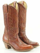 Women's Western Cowboy Boho Boots Russet Brown Leather Vintage High Heel 7.5 M