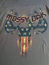 New Mossy Oak Deer Skull Flag Gray Men's Large (42-44) Graphic Sleeveless