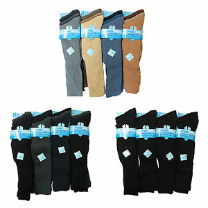 1,3 Pairs Men Gents Long Hose 100% Cotton Comfy Grip Ribbed Knee High Socks 6-11