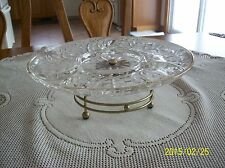 Lazy Susan Vintage Brass Metal Turn Table Divided Glass Serving Tray