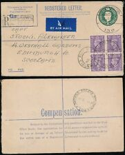 Poland Ww2 1945 Registered Stationery Fpo 130 Large Circle Airmail to Scotland