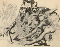Harold Hope Read (1881-1959) - Graphite Drawing, Group of Demons