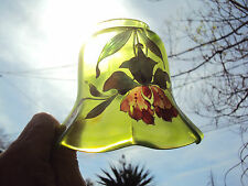 Tulipe en verre pour lampe à pétrole décor fleurs