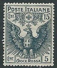 1915-16 REGNO PRO CROCE ROSSA 15+5 CENT LUSSO MNH ** - M1-2
