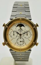 Seiko Sports 100 chronograph, date, Moonphase Cal 7A48 bi-tone gents watch.