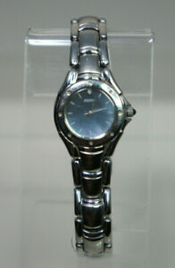 SEIKO Gray Mother of Pearl Dial Stainless Steel Butterfly Clasp Womens Watch