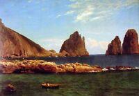 "Huge Oil painting Capri seascape with Isle rocks - Albert Bierstadt canvas 36"""