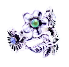 Antique silver coloured plum flower and leaf ring