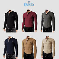 Mens Thermal Slim Fit Casual Henley Cotton Long Sleeve Shirts & Pocket