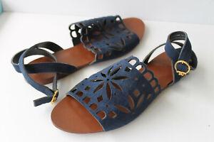 Tory Burch Perforated Lazer Cut Suede Sandal   SZ  8.5   46601      (J12)