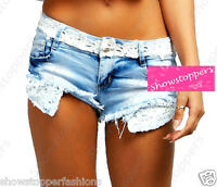 NEW Womens SHORTS DENIM Ladies Crochet Trim HOT PANTS Size 6 8 10 12 14 short