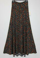 LuLaRoe Women's Rose Pattern Maxi Skirt XS Black  NWT