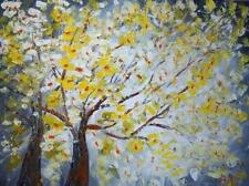 Spring Blossom Large Painting Yellow White Gray 48x36 Landscape Canvas