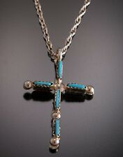 Sleeping Beauty Turquoise and Natural Coral REVERSIBLE Cross Pendant  TO21D