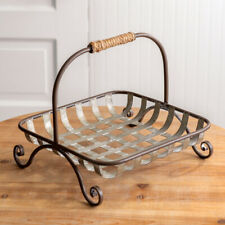 New French Country Rustic Primitive Farmhouse Metal Tobacco Basket Tray Stand