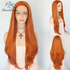 Synthetic Lace Front Wigs Orange Color Long Hair Natural looking Wigs For Women