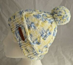 Chunky Blue & yellow Pom-Pom Cable Hat-Teens to Adults - hand made- Brand New