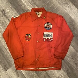 Vintage 70s-80s Traveler Windbreaker Red Jacket Size L With Custom Patches RARE