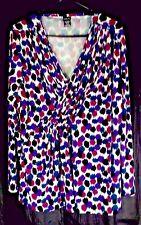 Rafaella Womens XL Knit Top  Teal Purple Burgundy Black Diagonal Pintuck Detail