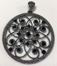 Filigree Medallion Round Pendant With Black Crystals