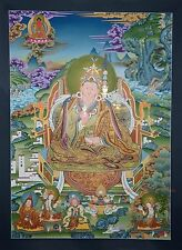 "41.75"" x 30.25"" Guru Rinpoche Tibetan Religious Thangka Thanka Scroll Painting"