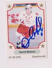 91/92 Dave Matsos Soo Greyhounds Autographed OHL Hockey Card