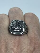 Vintage Stainless Steel Size 12 Men's Crown Good Luck Amulet Ring