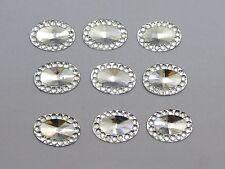 200 Clear Acrylic Flatback Oval Rhinestone Gems 13X10mm Embellishments