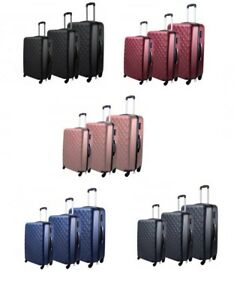 Set of 3 Hard shell Luggage Suitcases Trolley Case Lightweight Travel Cabin Size