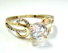 Simulated Diamond Engagement Ring size 6.25 L@K Gorgeous Solid 14K Yellow Gold