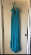 long beaded evening gown blue