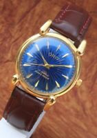 Antique Vintage Swiss Watch 17Jewels FHF ST96 HAND WINDING Blue Dial Men's