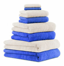 8-tlg. Badetuch Saunatuch-Set DELUXE Farbe: creme & blau , 2 Badetücher, 2 Dusch