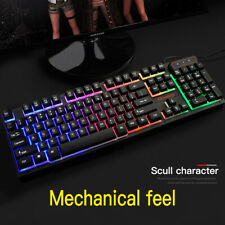 USB Wired Backlight Gaming Keyboard Rainbow Color LED Light Mechanical PC Laptop