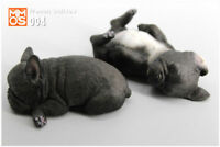 French Bulldog Sleep Black Dog Hand Painted Resin Figurine Statue A pair