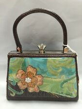 Debbie Brooks Brown Silver Handbag Evening Bag Handle New SEA FLOWER Blue Green